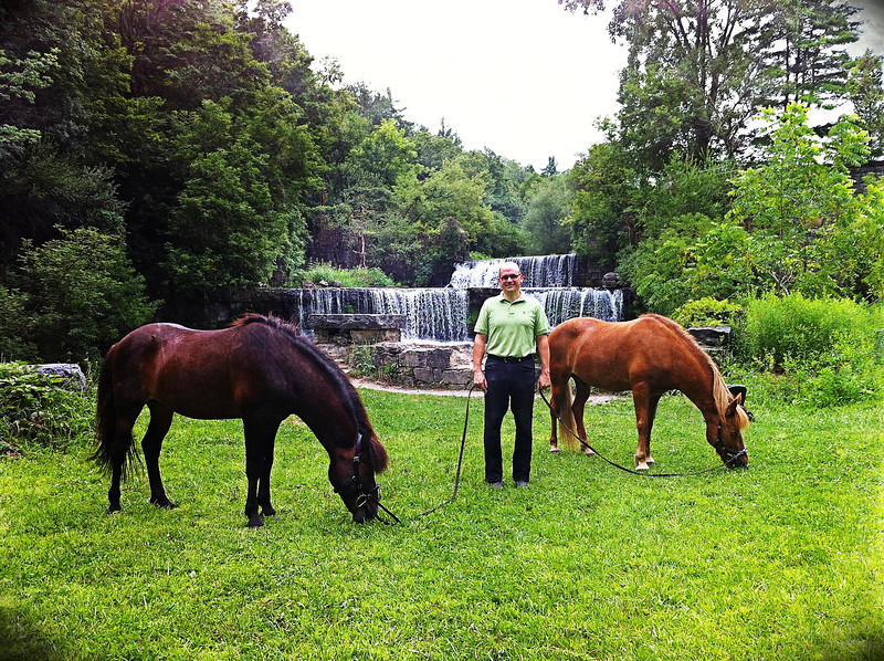 Steve taking a break with Hergill and Kraftur at Seneca Mills Falls along the Keuka Outlet Trail<br /> August 4, 2013