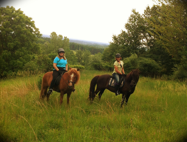 Andrea & Kraftur and Deb & Fenja enjoy the view at Mendon Ponds Park<br /> June 22, 2013