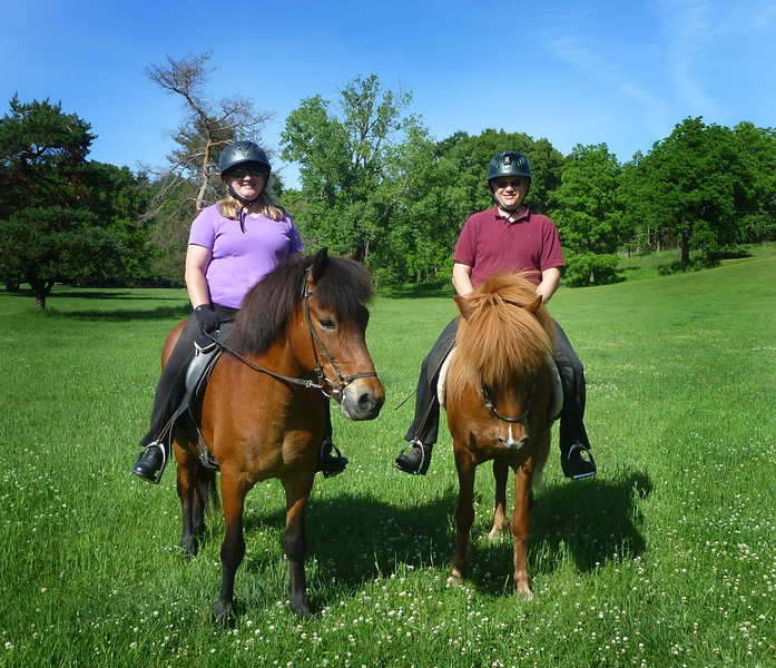 Andrea and Steve riding Von and Táta at Mendon Ponds Park June 15, 2014