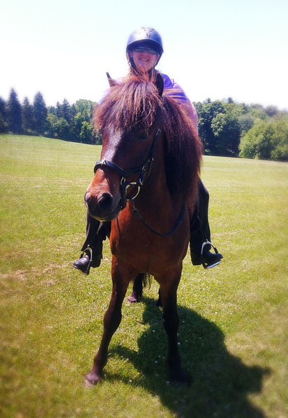 Andrea riding Hergill in Mendon Ponds Park ~  June 15, 2014