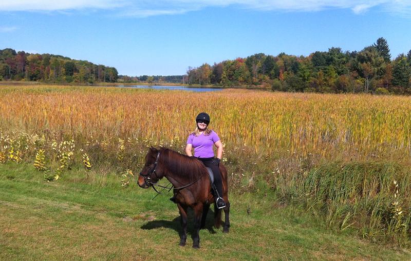 Andrea riding Hergill in Mendon Ponds Park ~  September 28, 2014