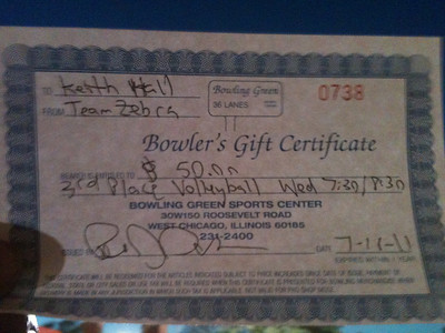 20110720 3rd Place Gift Certificate -Wednesday BGSC  807
