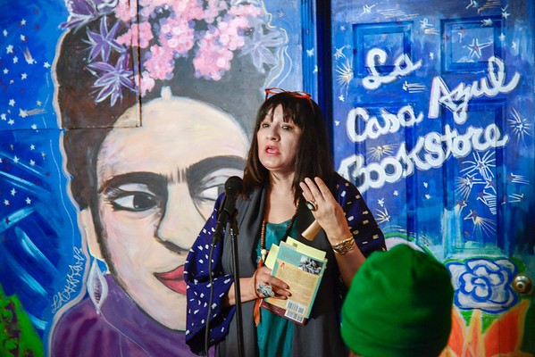 "Sandra Cisneros at La Casa Azul Bookstore, reading from her new book of poetry ""My Wicked Wicked Ways"""