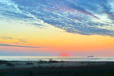 Morning fog and mist Sunrise