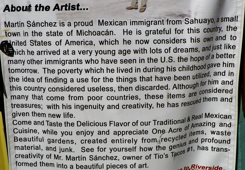 "Leaving the Mission Inn, stop for lunch at Tio's Tacos. This is the story of Martin Sanchez, owner and uniquely talented artist. The Tio's Tacos gallery is at - <a href=""http://bobsaw.smugmug.com/California/Tios-Tacos"">http://bobsaw.smugmug.com/California/Tios-Tacos</a>"