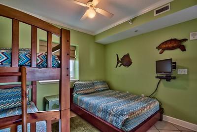 bedroom 2, queen plus bunks