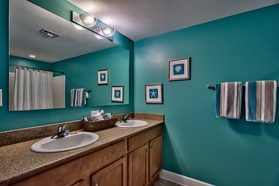 Master attached bath, dual sinks