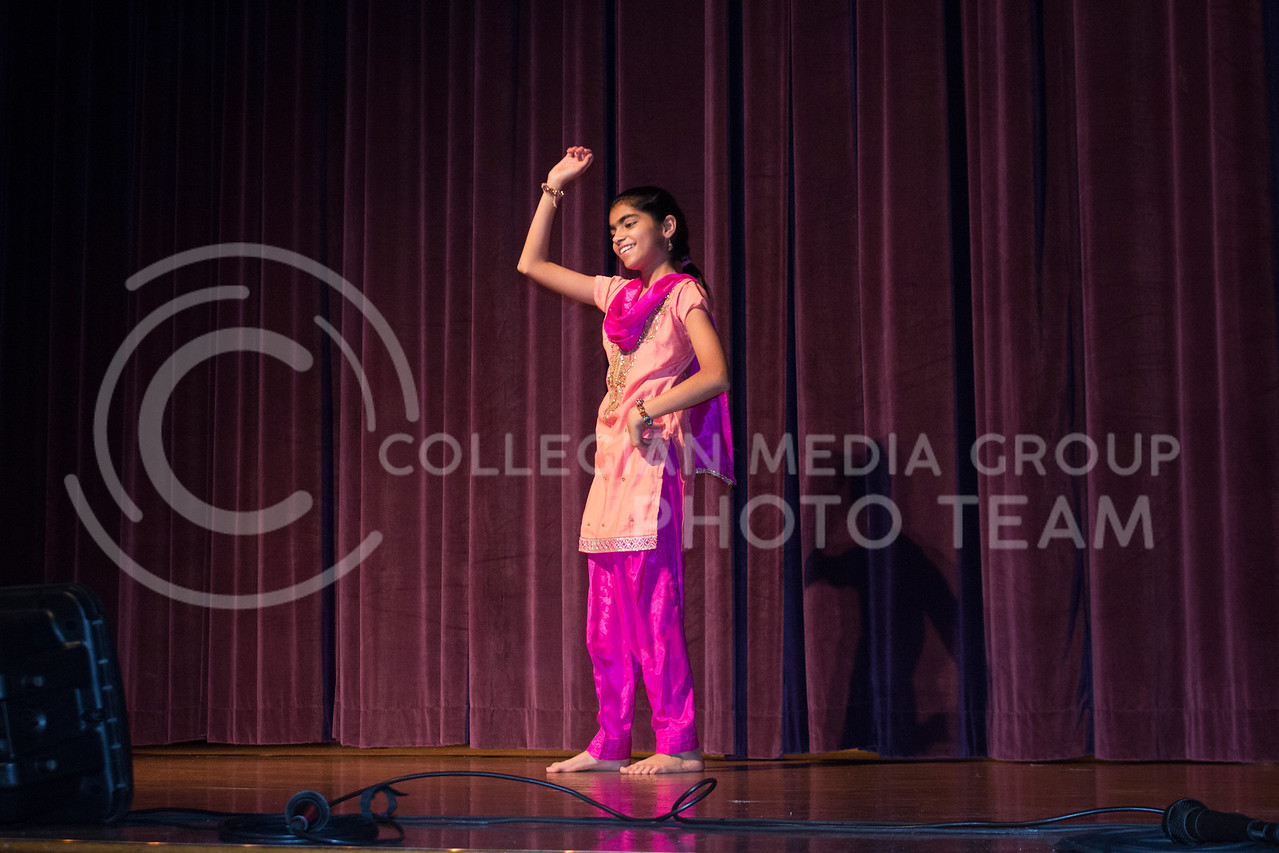 Anvesha Sharda, age 12, 6th-grader at Bergman Elementary and daughter of Ajay and Vaishali Sharda, performed a 3.5-minute dance at Sanskriti on Nov. 4, 2017. Ajah Sharda is an assistant professor of biological and agricultural engineering. (Tiffany Roney | Collegian Media Group)