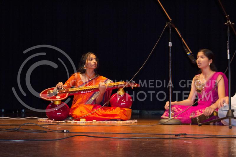 Rekha Natarajan (from left), coordinator for the math department, played the veena while Ananya Pagdala sang at Sanskriti on Nov. 4, 2017. (Tiffany Roney | Collegian Media Group)