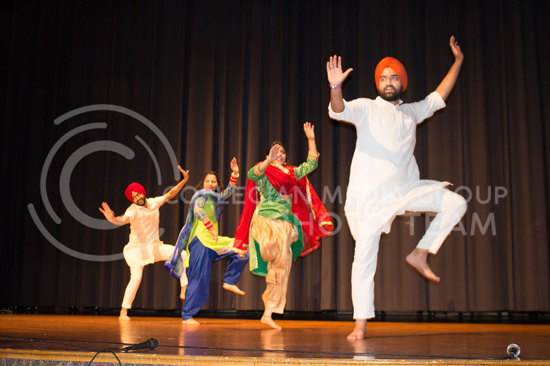______ (from left), Komal Preet Kaur, ______ and _____ perform an energetic dance at Sanskriti on Nov. 4, 2017. (Tiffany Roney | Collegian Media Group)