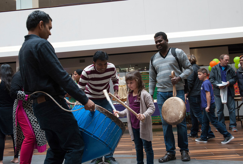 Lillian Cooper plays the drums during the Sanskriti 2018 event at the Kansas State University Student Union on Nov. 3, 2018. Sanskriti is a Indian cultural inclusion event put on by Indian Students Association to promote learning about thier culture and traditions. (Photo by Justin Wright | Collegian Media Group)