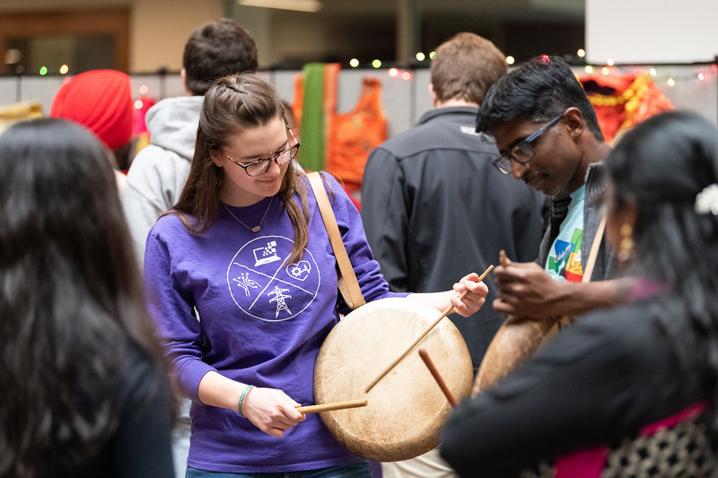 Students who attended Sanskriti in the Union courtyard on November 3, 2018 had the opportunity to learn how to play and dance to Indian music. (Alex Todd | Collegian Media Group)