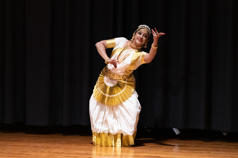 A group of women perform a classical Indian dance during Sanskriti in Forum Hall on November 3, 2018. (Alex Todd | Collegian Media Group)