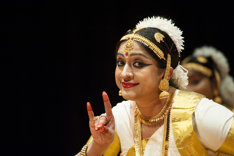 Smitha Rajan performs a dance routine during the Sanskriti 2018 event at the Kansas State University Student Union on Nov. 3, 2018. The event showcased many different types of dancing, traditional music, and instruments. Sanskriti is a Indian cultural inclusion event put on by Indian Students Association to promote learning about thier culture and traditions. (Photo by Justin Wright | Collegian Media Group)