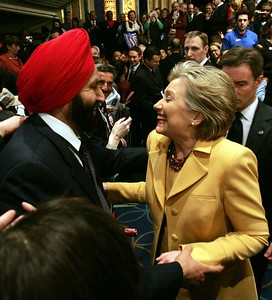 Hillary Clinton US Presidential Candidate having lighter time with Sant Singh Chatwal, hotelier and founder 'Indian American for Hillary 2008 (IAFH)  at a Super Tuesday Party at Manhatten Center in NY on 5th feb-08...pic Mohammed Jaffer-SnapsIndia
