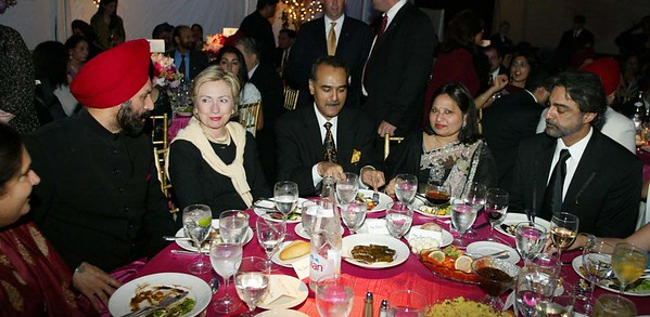 sant chatwal,hillary clinton ,Mr praful pateland mrs Usha mital  at the wedding reception of Mr sant chatwal's son Vivek Chatwal which was held at Tavern on the Green in New York on 15th june 2002 .pic Mohammed Jaffer/snapsindia