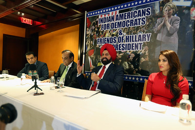 Sant Chatwal, Chairman Indian American Democrats  & Friends of Hillary appeal for collective vote at a press conference held at The Chatwals Hotel in Manhatten on 2nd nov 2016, in middle Dr Bhupi Patel, former chief of medicine at Mount Sinai Hospital, Queens and Mike Patel, hotelier and former commissioner in President Clinton's White House Initiative on Asian Americans and Pacific Islanders at right can be seen ...pic Mohammed Jaffer-Snapsindia
