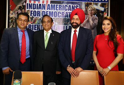 Sant Chatwal, Chairman Indian American Democrats  & Friends of Hillary appeal for collective vote at a press conference held at The Chatwals Hotel in Manhatten on 2nd nov 2016, in middle Dr Bhupi Patel, former chief of medicine at Mount Sinai Hospital, Queens and Mike Patel, hotelier and former commissioner in President Clinton's White House Initiative on Asian Americans and Pacific Islanders  and host Rashi Nigam at right can be seen ...pic Mohammed Jaffer-Snapsindia