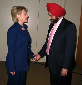 Hillary Clinton Secretary of State being greeted by Sant Singh Chatwal  Chairman of the Indian-Americans for Democrats at a President OBAMA Inaugural party on 20th jan-09 in Washington DC....pic Mohammed Jaffer-SnapsIndia