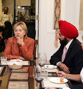 Former First lady Senator Hillary Clinton  and Sant Chatwal  at a dinner hosted  at Chatwal's  penthouse in  NY  to lobby pressing lawmakers to ratify Congressional legislation on the US-India civil nuclear deal on-13th-Sept- ...pic Mohammed Jaffer-SnapsIndia