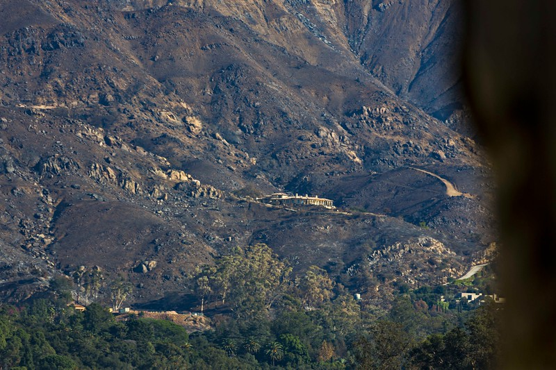 Close up of saved Montecito house amid ash