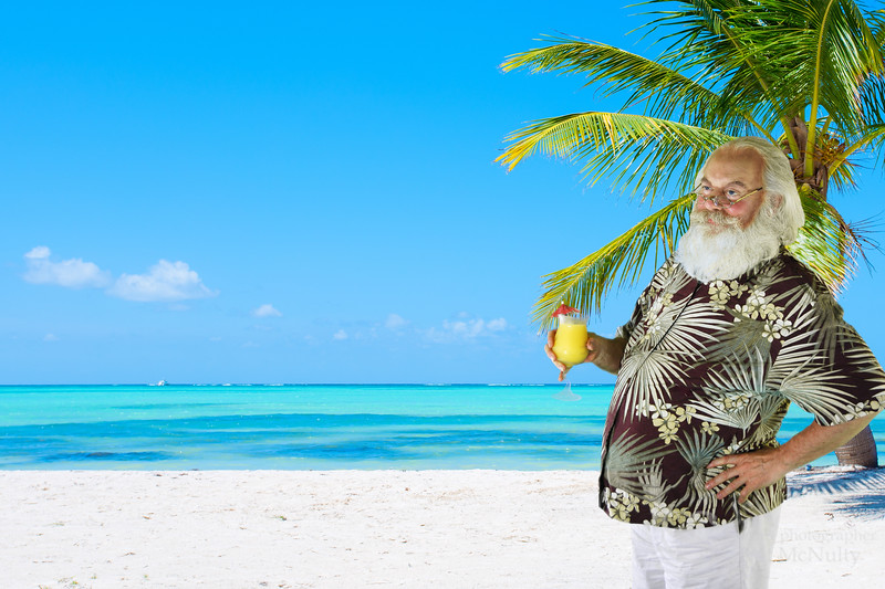 Santa Claus Christmas Tropical Holiday Photo
