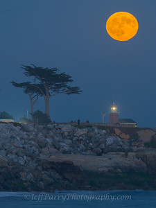 Harvest Moon over Point Santa Cruz Lighthouse
