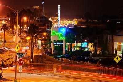 West Cliff and Beach Street in Santa Cruz at night