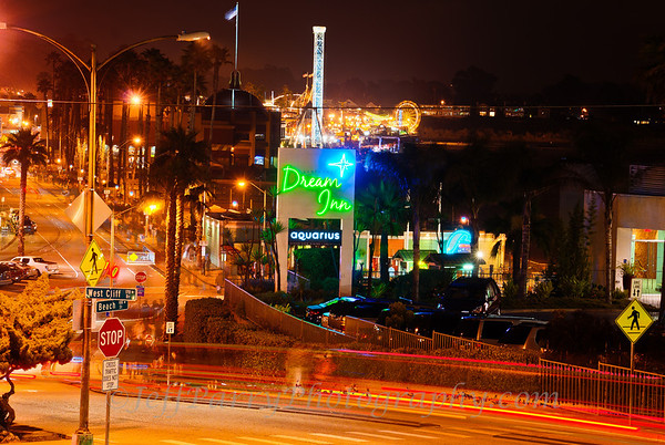 West Cliff and Beach Street in Santa Cruz at night