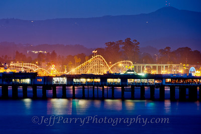 Santa Cruz Beach Boardwalk and Wharf at twilight