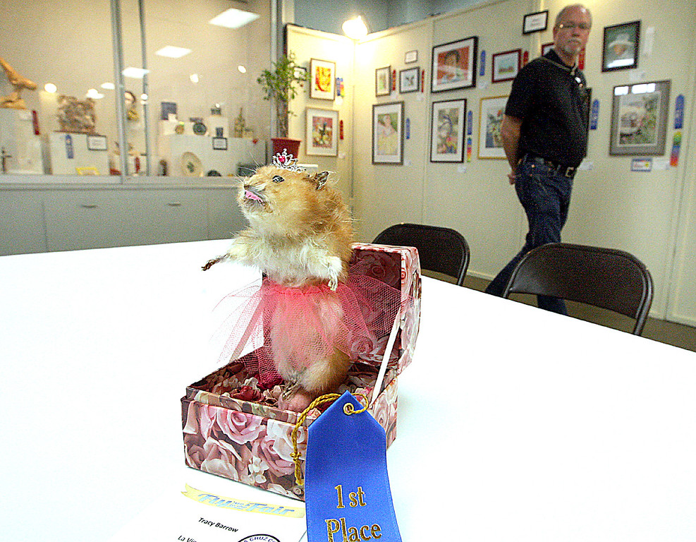 . Amateur taxidermist Tracy Barrow of Capitola took First Place in mixed media art with her stuffed hamster--a friend\'s pet that died--dressed in a tutu and tiara, spinning in a music box. (Dan  Coyro -- Santa Cruz Sentinel)