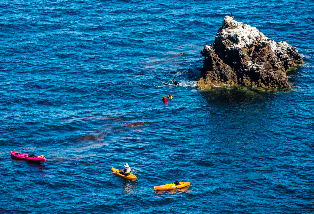 Kayaks and divers