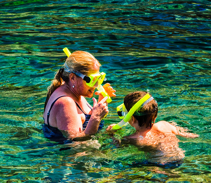 Mother and Son Snorkeling