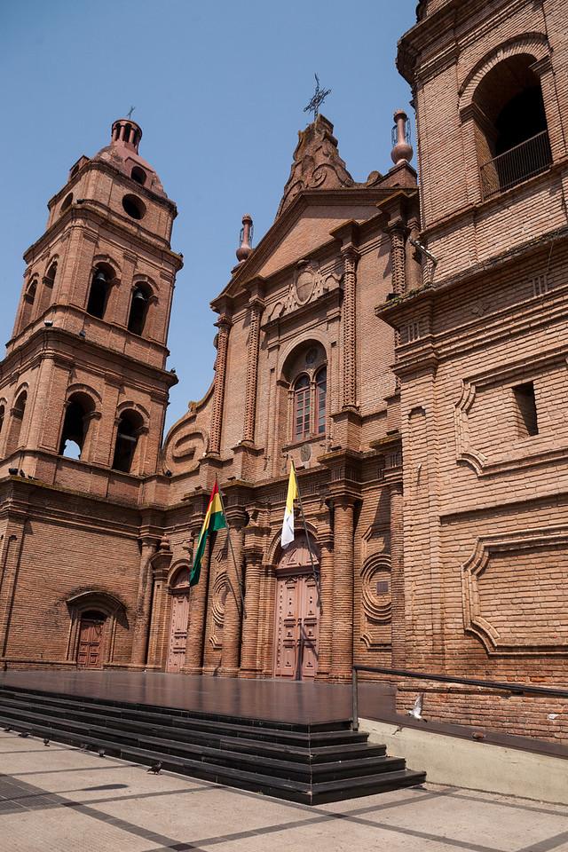 Cathedral at the main plaza in Santa Cruz, Bolivia