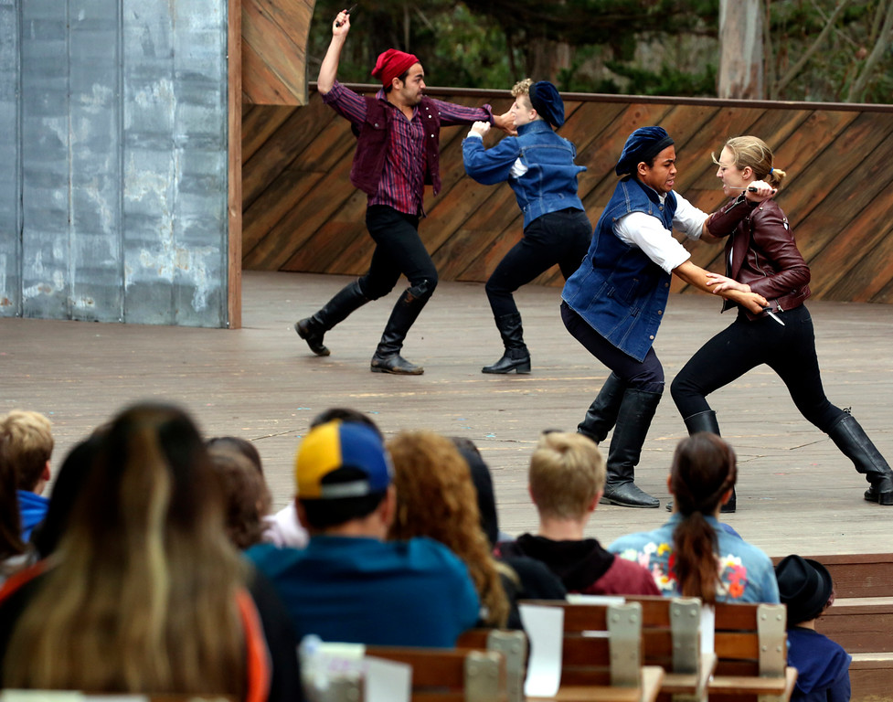 ". Students from Santa Cruz, the Pajaro Valley and Campbell fill the eucalyptus grove at Delaveaga Park on Wednesday to view Santa Cruz Shakespeare\'s presentation of ""Romeo and Juliet\"".   The festival is staging their inaugural Student Matinee week Monday through Friday in an effort to bring Shakespeare to young people. (Shmuel Thaler -- Santa Cruz Sentinel)"