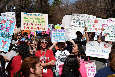 Approximately 1,500 educators, parents and students participated in a rally to show support for public education at the New Mexico State Capitol on Thursday, March 16, 2017. Clyde Mueller/The New Mexican