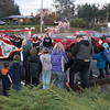 Santa shows up and the line forms...