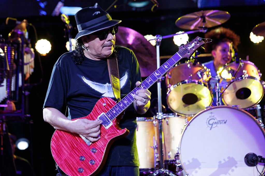 . Santana live at Michigan Lottery Amphitheatre on 8-9-17.  Photo credit: Ken Settle
