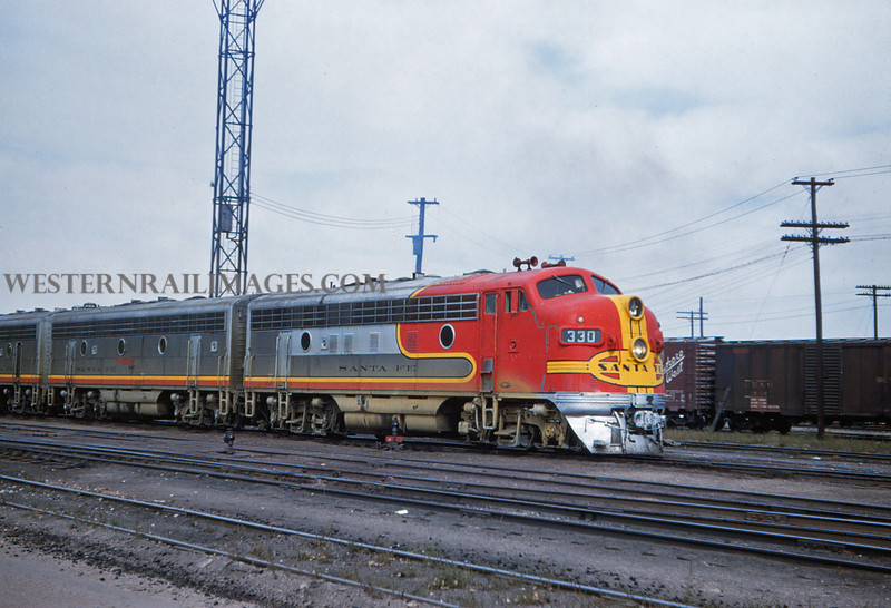 ATSF 10 - Sep 27 1958 - No 300 300a 300b at Rice Yard - Denver Colo - Jim Ozment