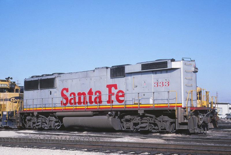 ATSF 212 - Jan 24 1992 - no 333 GP60B @ Kansas City KS - by L Coone