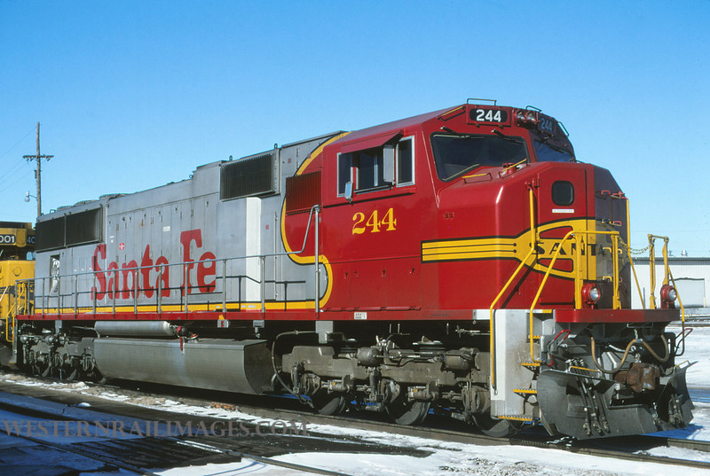 ATSF 189 - Jan 21 1996 - no 244 SD75M @ Kansas City KS - by L Coone
