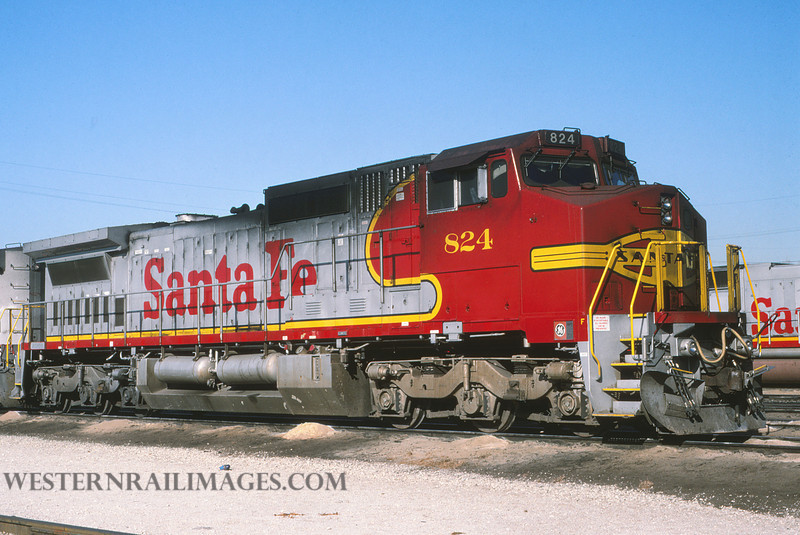 ATSF 757 - Feb 9 1994 - loco 824 @ Kansas City KS by L Coone