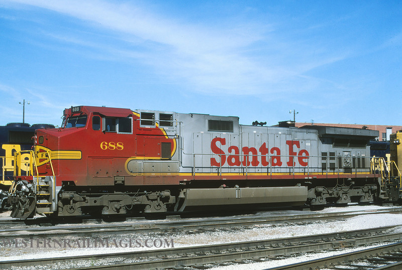 ATSF 706 - Aug 27 1996 - loco 688 @ Kansas City KS by L Coone