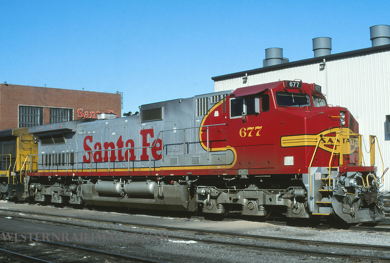 ATSF 687 - Feb 4 1996 - loco 677 @ Kansas City KS by L Coone