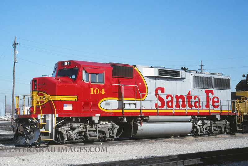 ATSF 12 - Feb 3 1992 - no 104 GP60M @ Kansas City KS - by L Coone