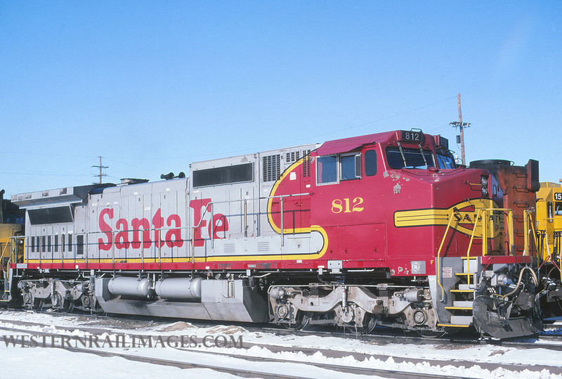 ATSF 742 - Jan 6 1996 - loco 812 Dash 8 @ Kansas City KS by L Coone