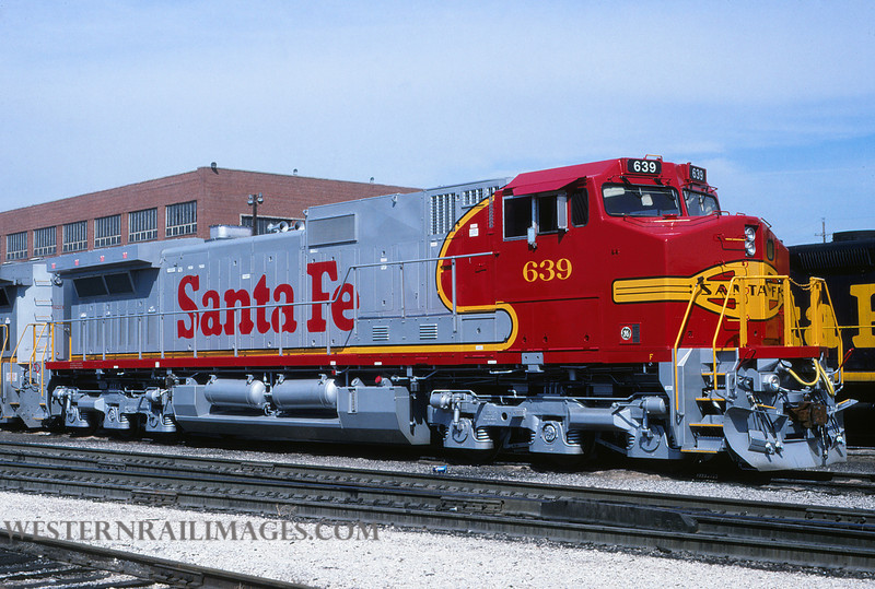 ATSF 635 - March 17 1994 - loco 639 @ Kansas City KS by L Coone