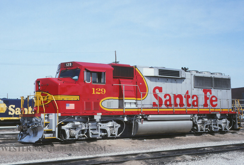 ATSF 65 - Mar 19 1992 - GP60 no 129 @ Kansas City KS - by L Coone