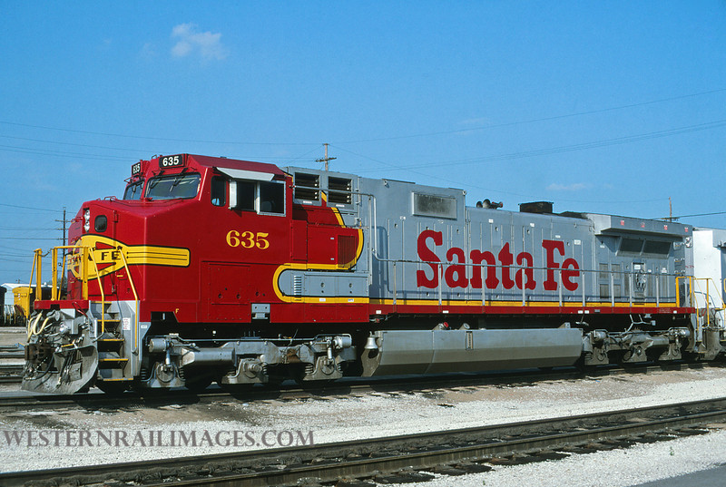 ATSF 630 - Aug 23 1996 - loco 635 GE dash 9 @ Kansas City KS - by L Coone