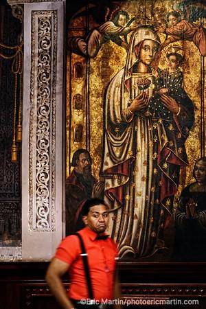 REPUBLIQUE DOMINICAINE. LA VILLE COLONIALE DE SANTO DOMINGO. SAINT DOMINGUE. Interieur de la Cathédrale Notre-Dame de l'Incarnation ( Santa Maria la menor ). Elle fut la première cathédrale construite au Nouveau Monde